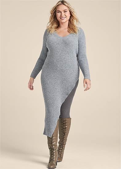 Plus Size Asymmetrical Maxi Sweater