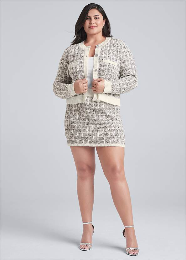 Front View Boucle Skirt Set