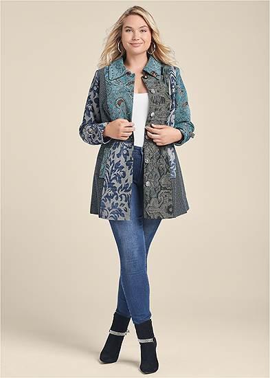 Plus Size Mixed Print Coat