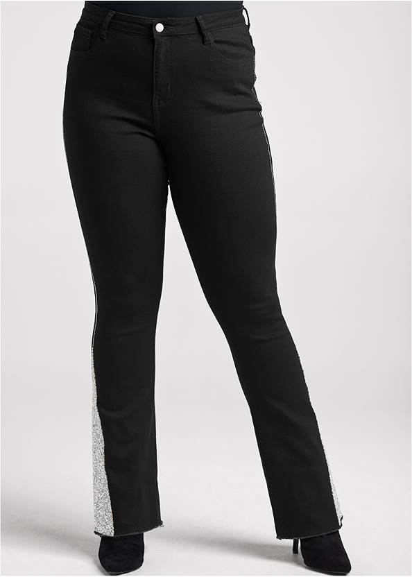 Front View Rhinestone Bootcut Jeans