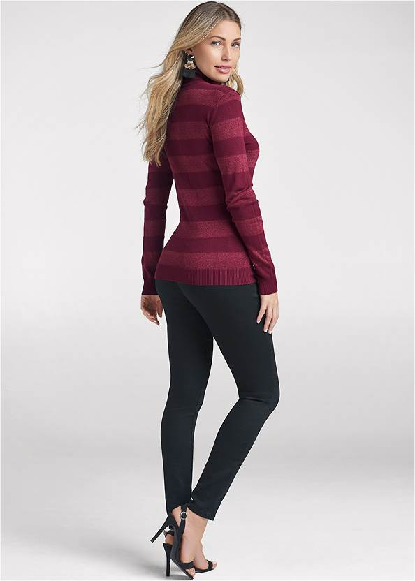 Full back view Striped Turtleneck Sweater