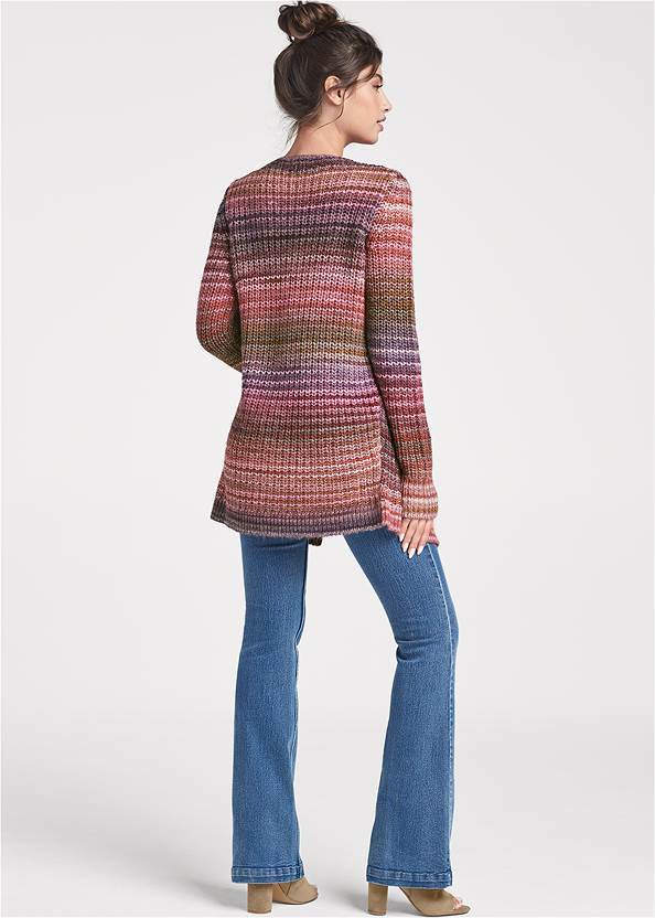 Back View Striped Cardigan