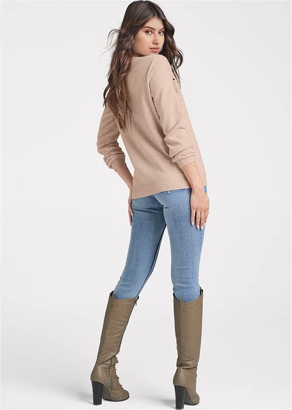 Back View Embellished Sweater