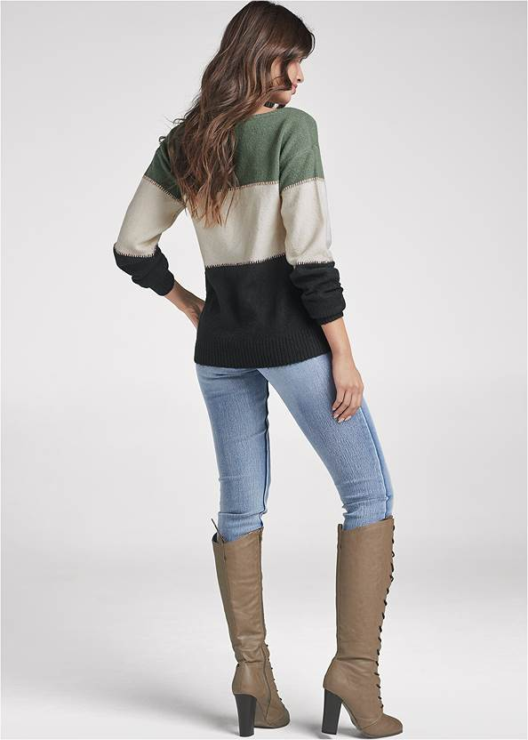 Back View Printed Color Block Sweater