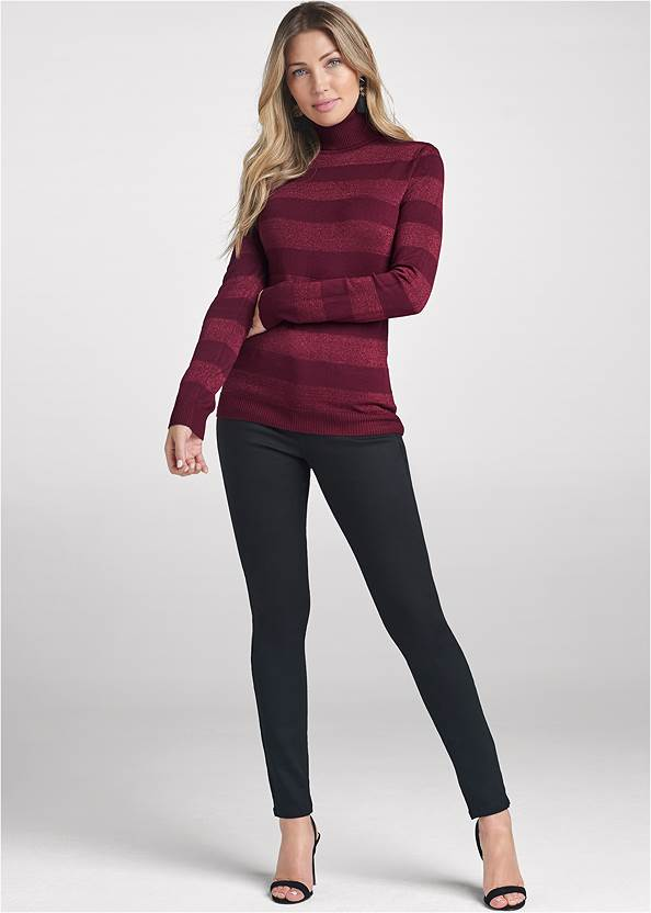 Full front view Striped Turtleneck Sweater