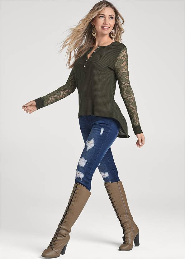 Front View Waffle Knit Lace Sleeve Top
