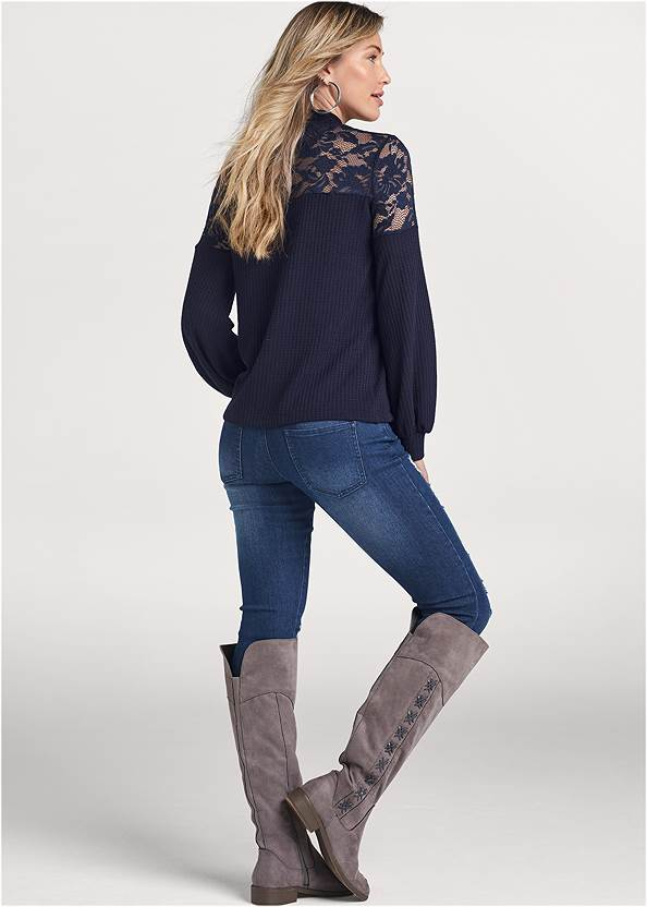 back view Waffle Mock Neck Lace Top