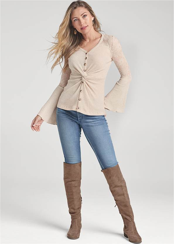 Full Front View Knot Twist Waffle Knit Top