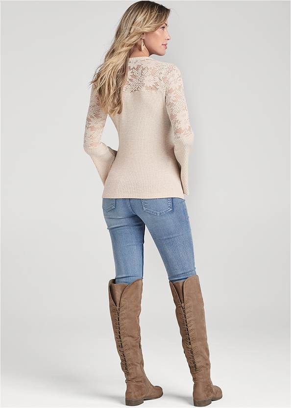 Back View Knot Twist Waffle Knit Top