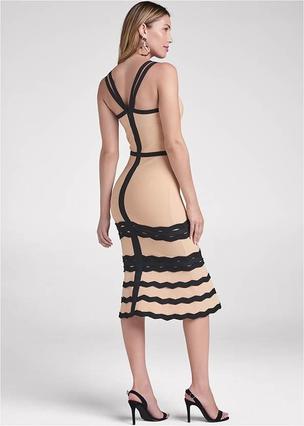 Bandage Strappy Dress,Sexy Slingback Heels,Circle Drop Earrings,Leopard Fringe Crossbody