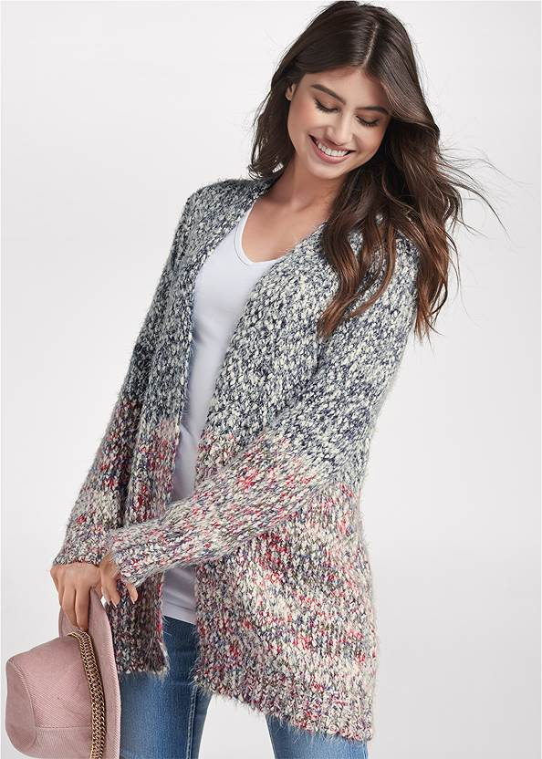 Marled Knit Cardigan,Long And Lean V-Neck Tee,Mid Rise Color Skinny Jeans,Stitched Knee High Boots,Wide Brim Chain Trim Fedora