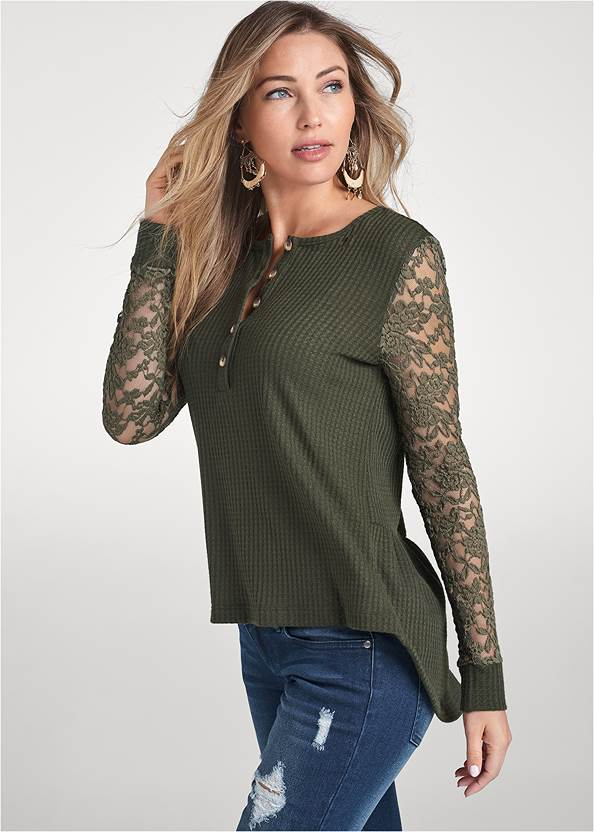 Cropped Front View Waffle Knit Lace Sleeve Top