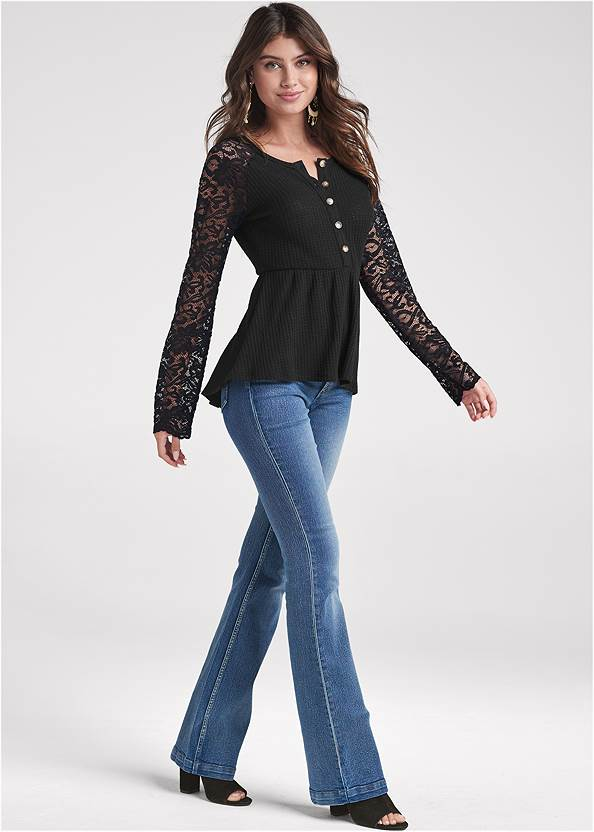 Front View Waffle And Lace Peplum Top