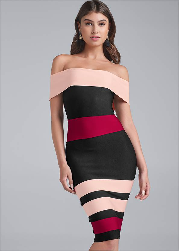 Bandage Color Block Dress,Pearl By Venus® Strapless Bra,Lace Smoothing Brief,Slouchy Faux Suede Boots,Sexy Slingback Heels,Rhinestone Heart Earrings,Coin Tassel Earrings,Fringe Wristlet Bag