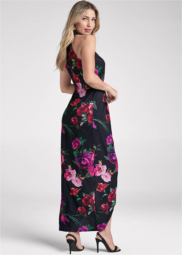 Back View Floral High-Low Maxi Dress