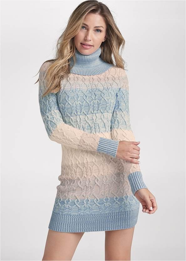 Turtleneck Sweater Dress,Whipstitch Peep Toe Booties,Raffia Bling Hoop Earrings