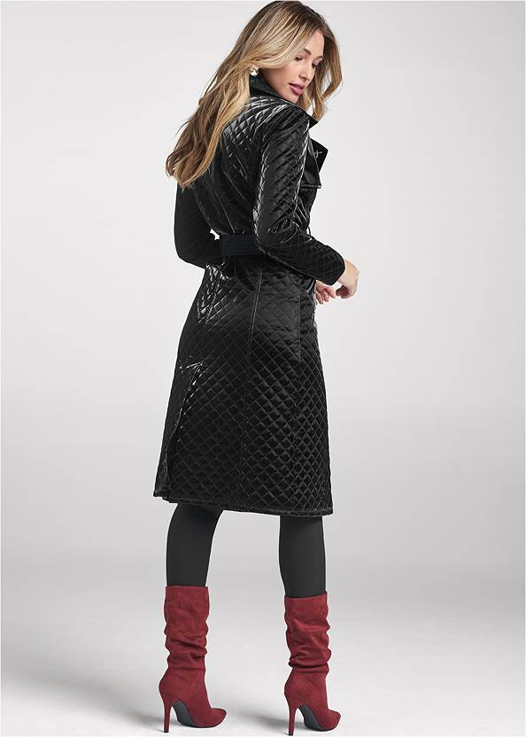 Full back view Quilted Buckle Detail Coat