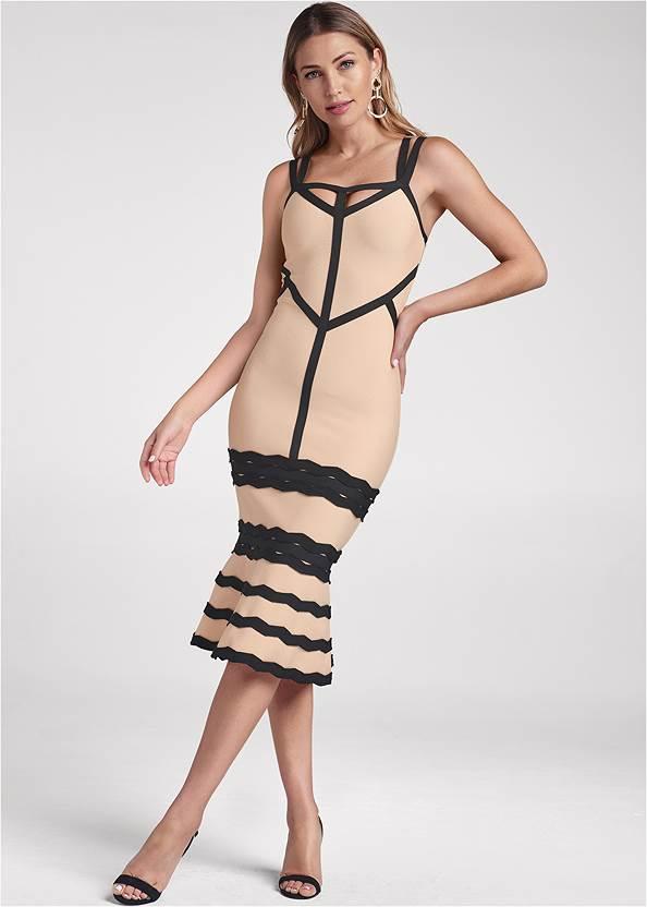 Bandage Strappy Dress,Circle Drop Earrings,Leopard Fringe Crossbody
