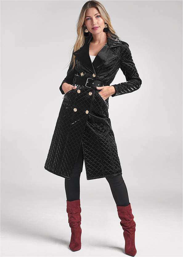 Full front view Quilted Buckle Detail Coat