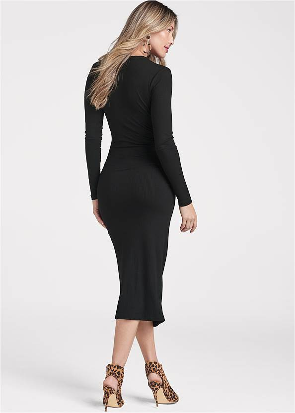 Back View Ruched Casual Dress