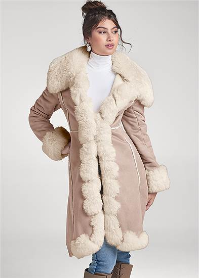 Faux Suede And Fur Coat