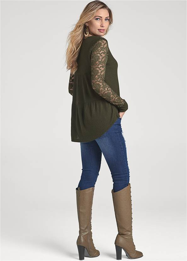 Back View Waffle Knit Lace Sleeve Top
