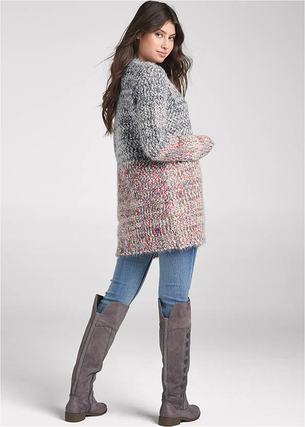 Back View Marled Knit Cardigan