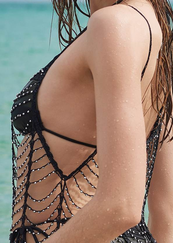 Detail back view Sports Illustrated Swim™ Windowpane Cover-Up Dress
