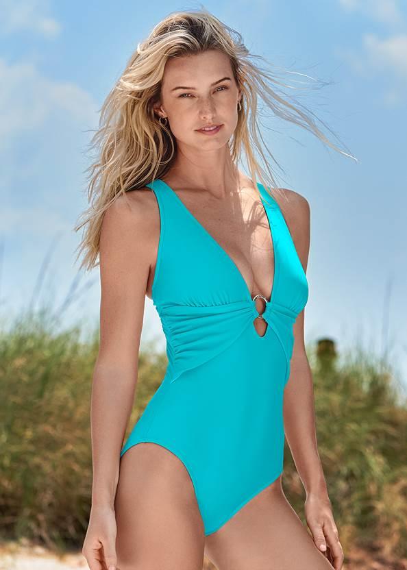 Crisscross One-Piece,Roman Cover-Up Beach Dress,Crochet Detail Cover-Up