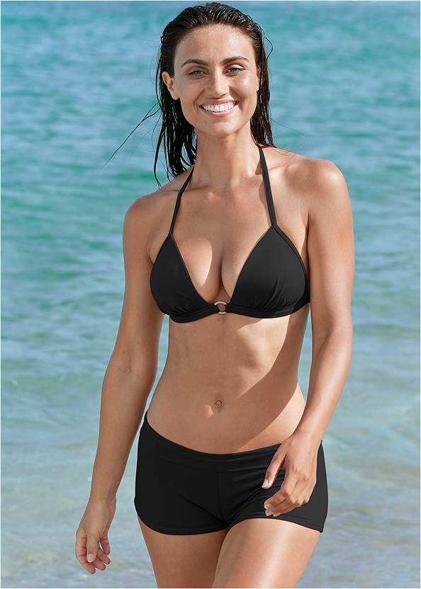 Swim Short,Enhancer Triangle Top ,Triangle String Bikini Top,Smocked Bandeau Top,Wrap Bikini Top,Reversible Asymmetrical Top,Embellished Sandals,Wood Earrings