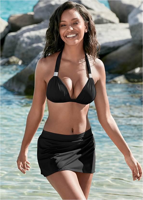 Mid Rise Swim Skirt Bikini Bottom,Goddess Enhancer Push Up Halter Top,Jillian Underwire Top,The Wireless Marilyn Top,Wrap Bikini Top,Raffia Tassel Shell Clutch