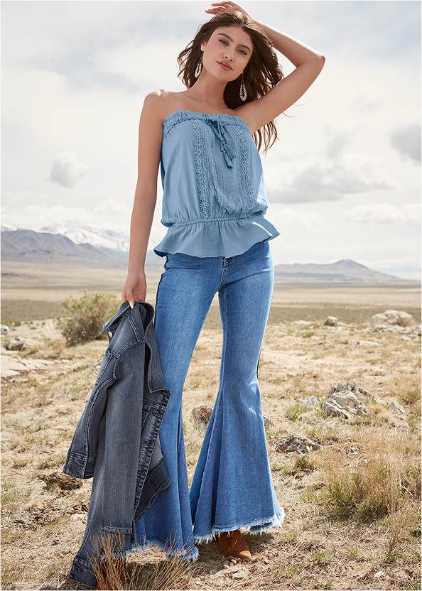 Tassel Detail Strapless Top,Extreme Flare Jeans,Jean Jacket,Frayed Cut Off Jean Shorts,Cropped Pearl Cuff Jeans,Natural Beauty Lace Bandeau,Wrap Around Wedges,Western Buckle Wrap Boots,Beaded Drop Earrings