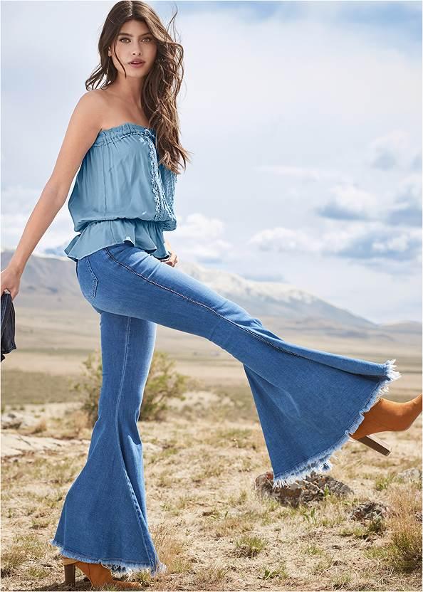 Extreme Flare Jeans,Tassel Detail Strapless Top,Jean Jacket,Western Buckle Wrap Boots,Beaded Drop Earrings