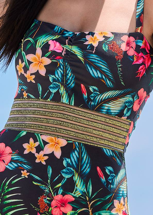 Detail front view Glitter Elastic One-Piece