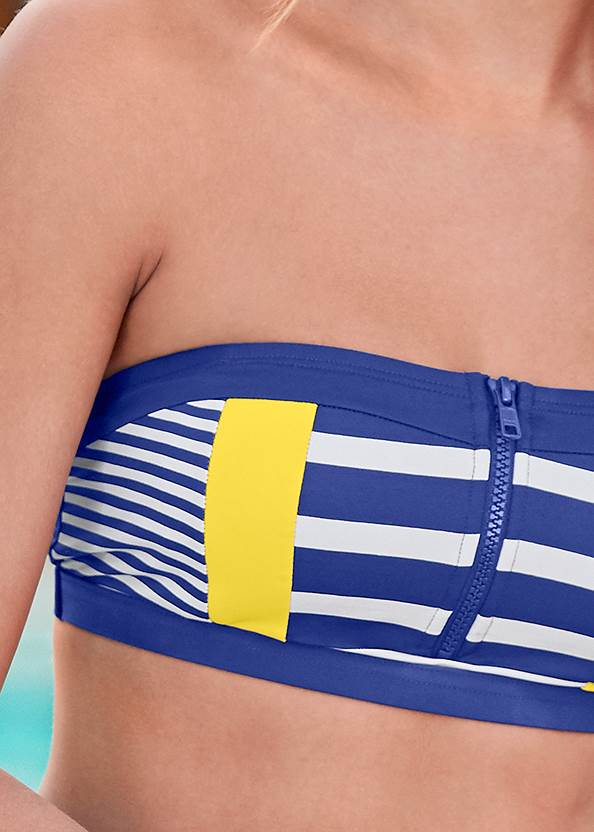 Detail front view Zip Front Bikini Top