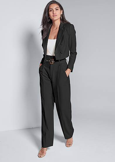 Plus Size Belted Suiting Set