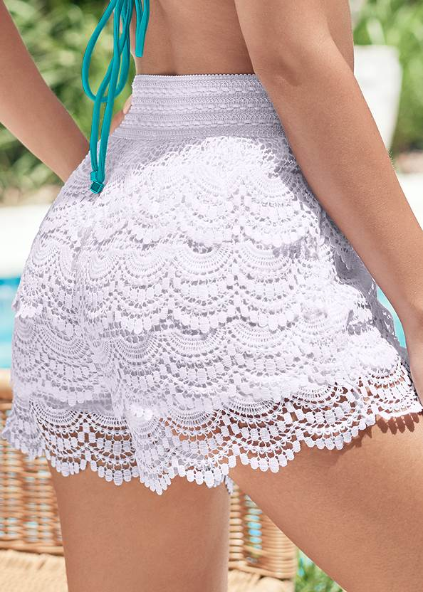 Alternate View Lace Trim Cover-Up Shorts
