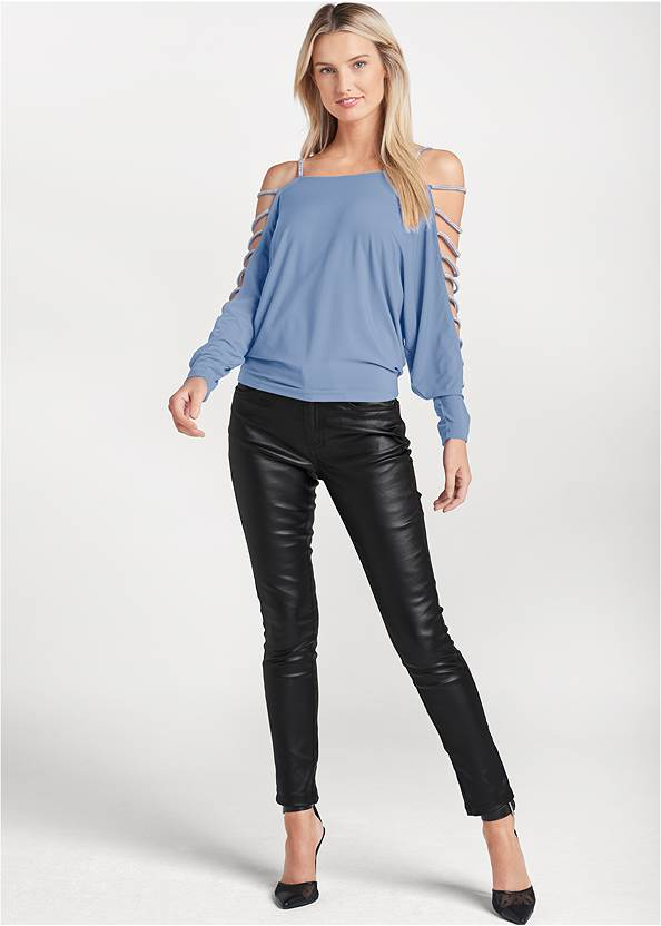 Full Front View Rhinestone Sleeve Top