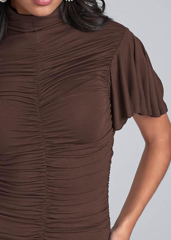 Alternate View Ruched Mock Neck Dress
