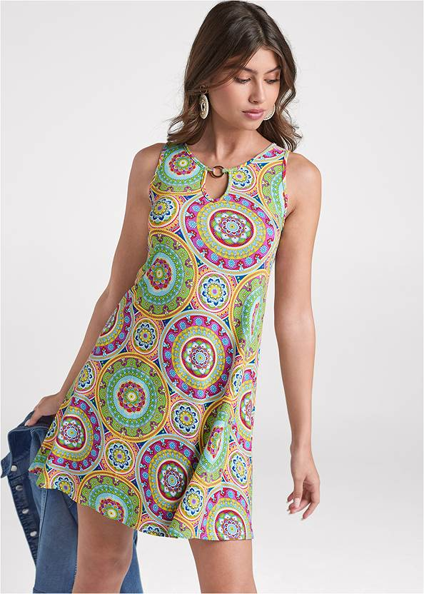 Cropped front view Medallion Print Dress