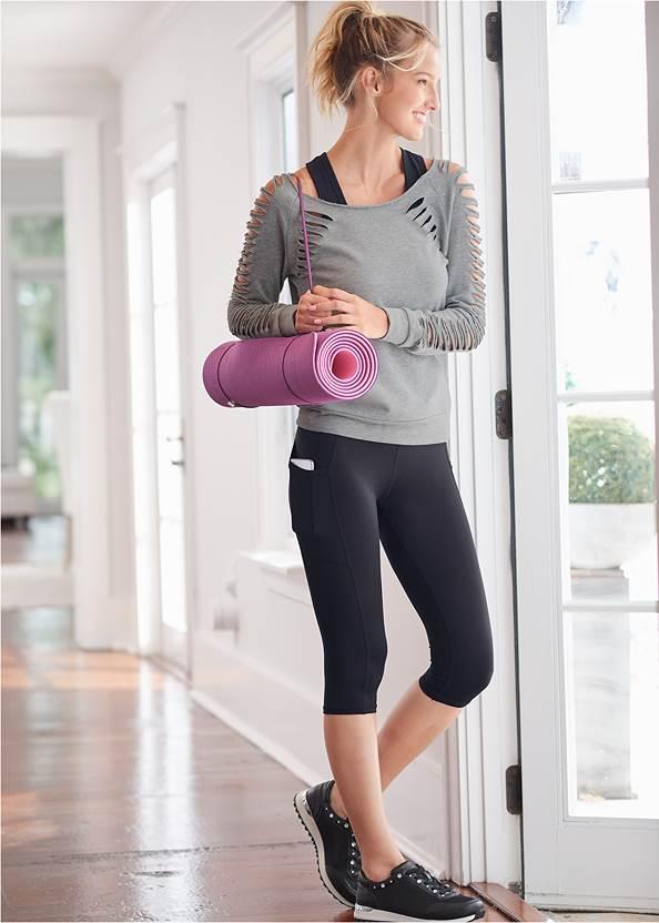 Pocket Capri Active Leggings,Slash Detail Sweatshirt,Rhinestone Net Sneakers