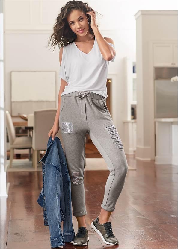 Sequin Slash Detail Jogger,Cold-Shoulder V-Neck Top,Basic Cami Two Pack,Jean Jacket