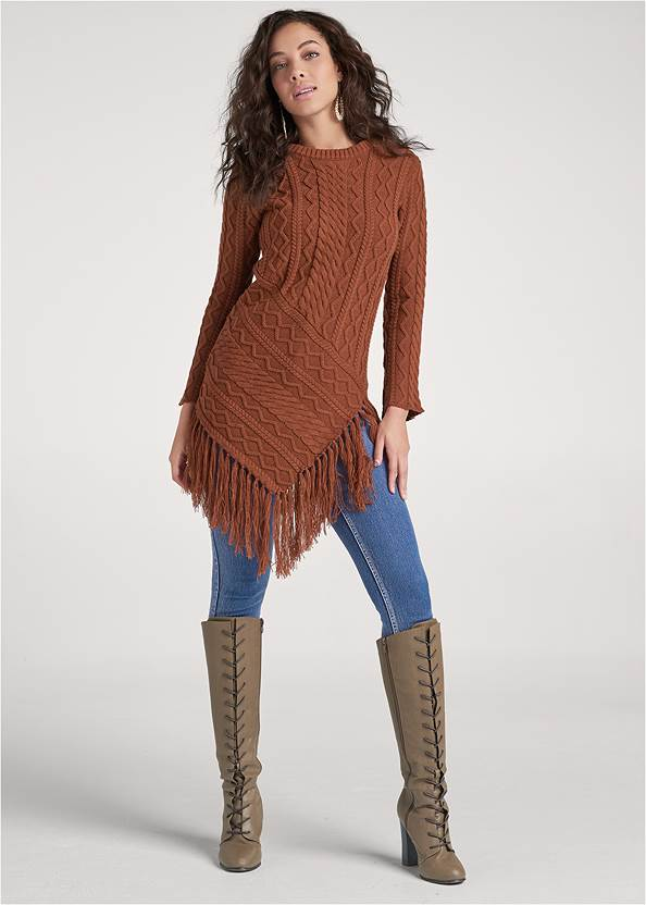 Alternate View Hanky Hem Fringe Sweater