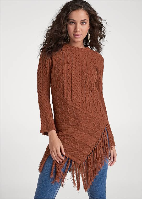 Hanky Hem Fringe Sweater,Mid Rise Color Skinny Jeans,Bum Lifter Jeans,Lace Up Tall Boots,Beaded Drop Earrings,Twist Handle Satchel Bag