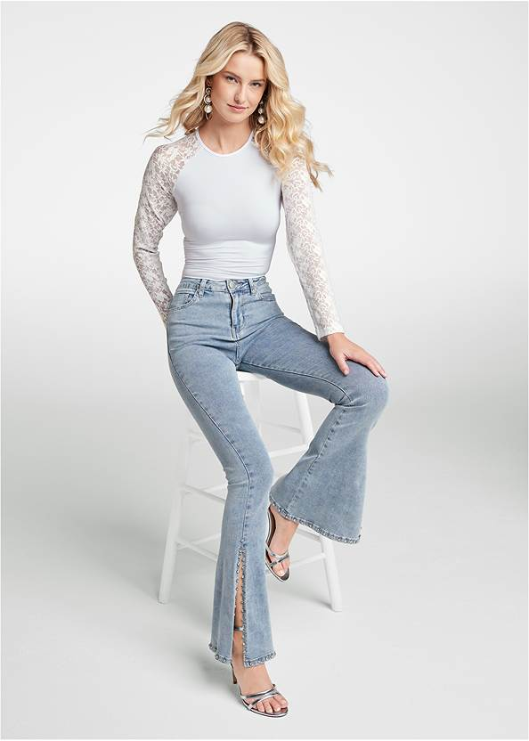 Rhinestone Bootcut Jeans,Lace Sleeve Bodysuit,Ombre Cold Shoulder Top,Sexy Ankle Strap Heels