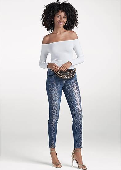Metallic Leopard Print Jeans