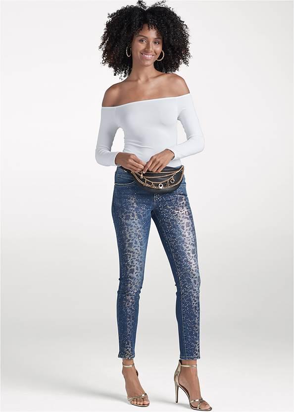 Metallic Leopard Print Jeans,Off The Shoulder Top,Easy Halter Top,Sexy Ankle Strap Heels,Pearl Hoop Earrings,Twist Hoop Chain Belt,Multi Chain Charm Belt Bag,Animal Chain Crossbody Bag