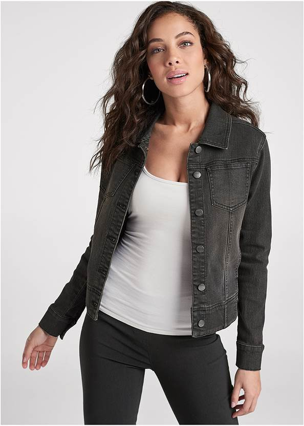 Jean Jacket,Basic Cami Two Pack,Mid Rise Slimming Stretch Jeggings,Mid Rise Color Skinny Jeans,High Heel Strappy Sandals,Twist Hoop Earrings