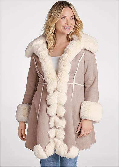 Plus Size Faux Suede And Fur Coat