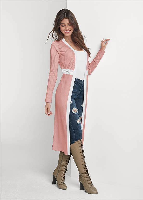 Ribbed Knit Detail Duster,Basic Cami Two Pack,Ripped Skinny Jeans,Mid Rise Slimming Stretch Jeggings,Lace Up Tall Boots,Whipstitch Peep Toe Booties,Mixed Earring Set,Pleated Tote Bag